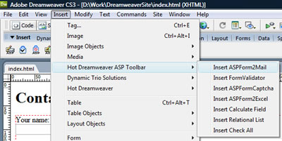 Dreamweaver Menu