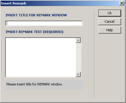 Remark Insertion Window