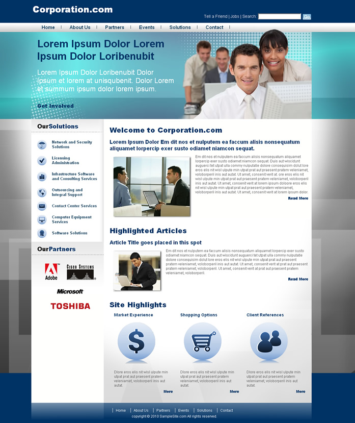 Corporative website i dreamweaver templates Website home image