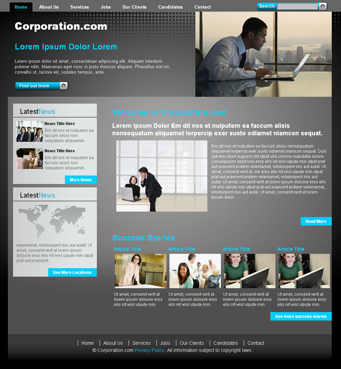 Corporative website ii dreamweaver templates for Dream weaver template
