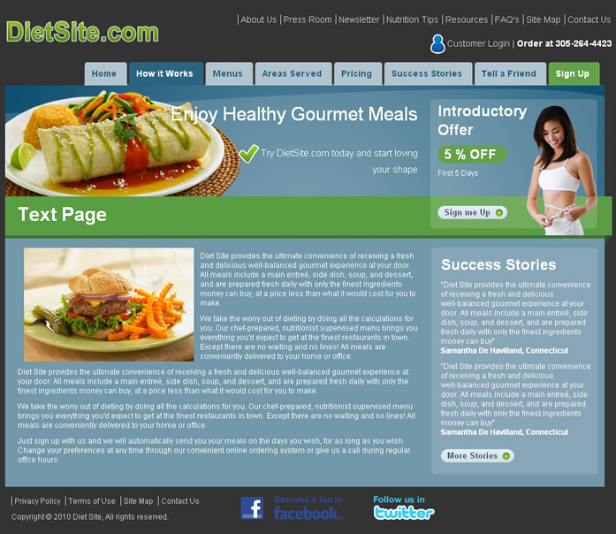 Food and Diet Dreamweaver Templates