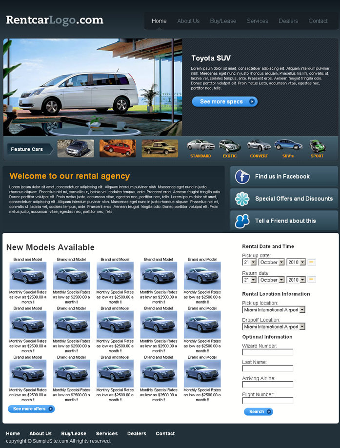 Rentacar i dreamweaver templates for Dream weaver template