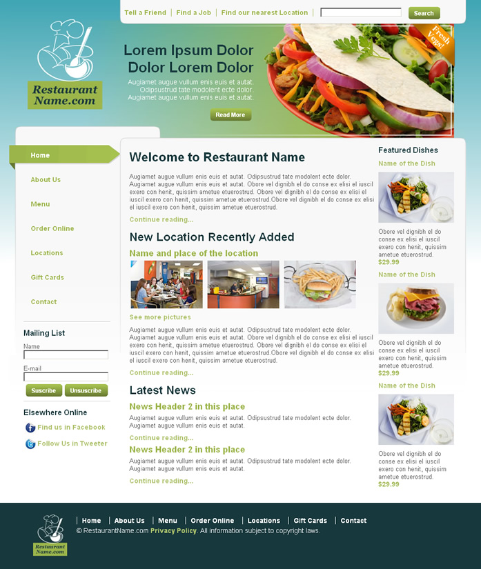 Restaurant dreamweaver templates for Dreamweaver newsletter templates